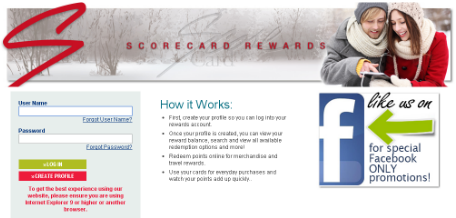 access Scorecard Rewards Login