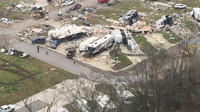 Tornado damages affected images