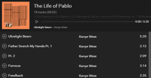 The Life Of Pablo Songs
