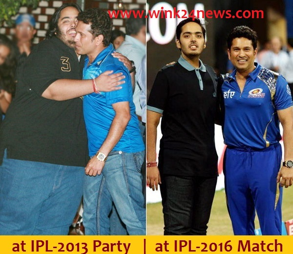 Anant with Sachin before and after lost 108kg