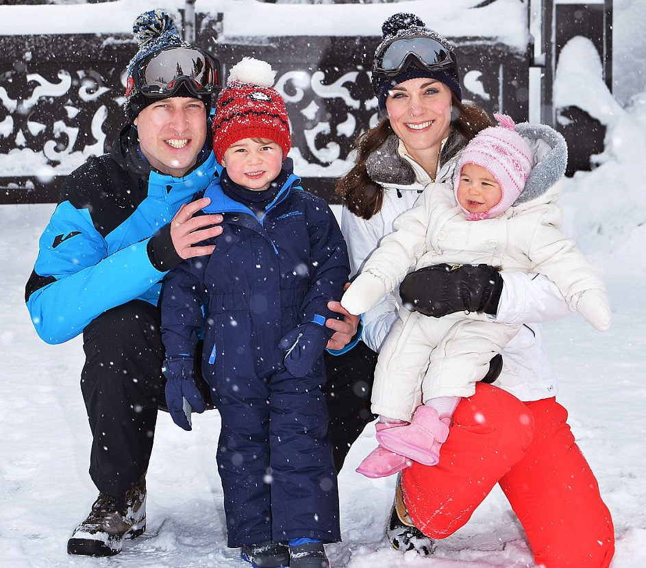 William and Kate Skiing in French Alps: All Photos with Princess Charlotte and Prince George (2nd R) from Holiday 2016