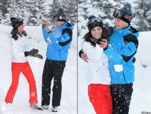 William and Kate Skiing Images