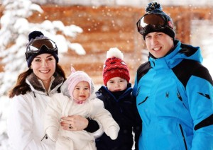 Prince William and Princess Kate skiing in the French Alps