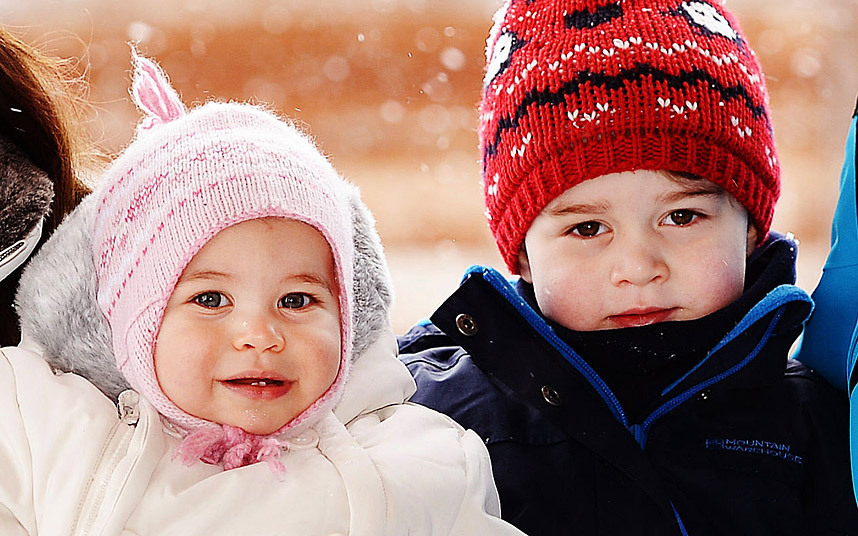 Princess Charlotte and Prince George skiing pictures 2016