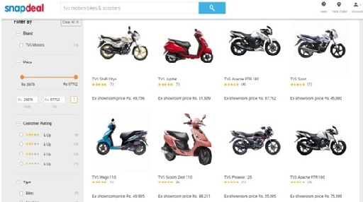 Now Buy TVS Bikes Online: TVS Motor Company Available Online on Snapdeal