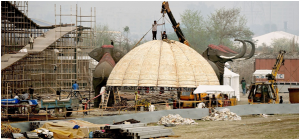 The massive work at World Cultural Festival site in New Delhi