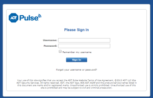 Screen Shot of ADT Pulse Login Page
