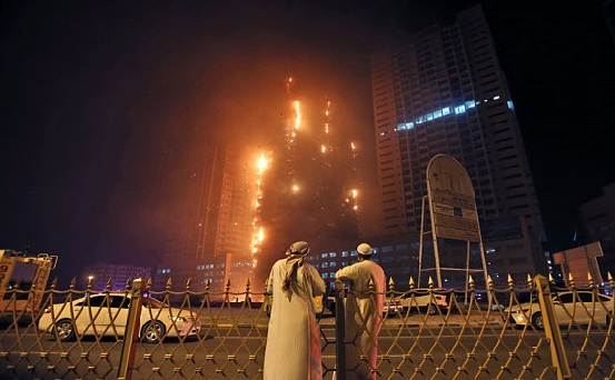 Video for Ajman Fire at High-Rise Tower in the United Arab Emirates