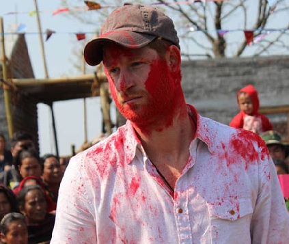 Prince Harry Celebrates the Holi Festival in Nepal Pics