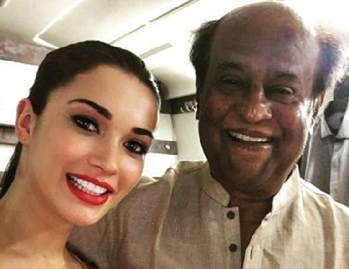 Amy Jackson Pics with Rajinikanth