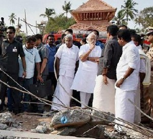 PM Narendra Modi at Kollam and visited the temple site.