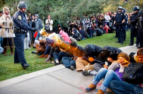 Video of The Campus Police Officer Pepper-Spraying on Protestors had Become A Major Story