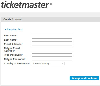 ticketmaster.com My Account Registration