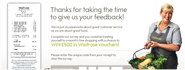 Visit waitrose-experience.com/ Feedback Survey