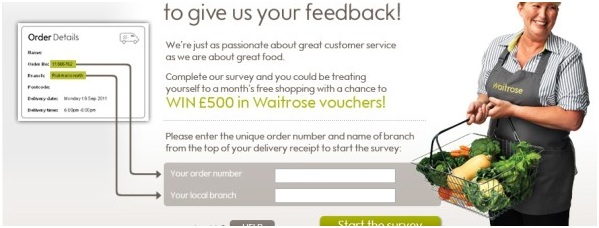 Waitrose Experience Prize Draw/ Customer Complaints Email