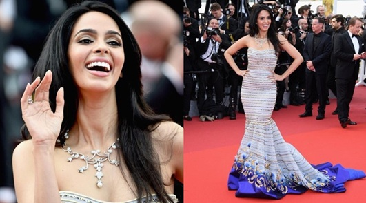 Mallika Sherawat Red Carpet Photos of Cannes Festival 2016 in Strapless Georges Hobeika Couture Gown