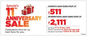 Spicejet Flight Booking Anniversary Sale Offer