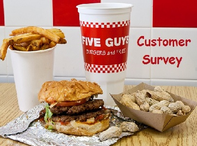 Visit Five Guys Customer Experience Survey Website @ www.FiveGuys.com/Survey