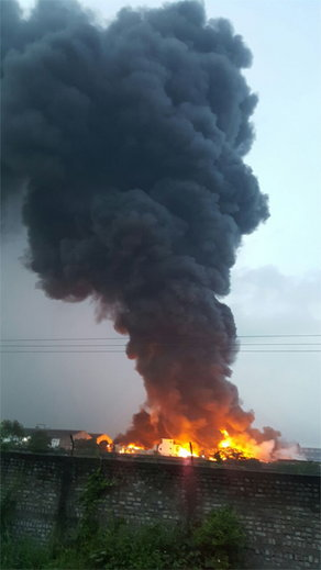 Fire in polyester yarn company near Surat