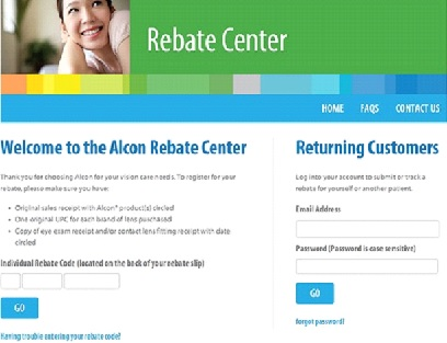 My Alcon Lens Individual Rebate Code/ Register for Your Rebate