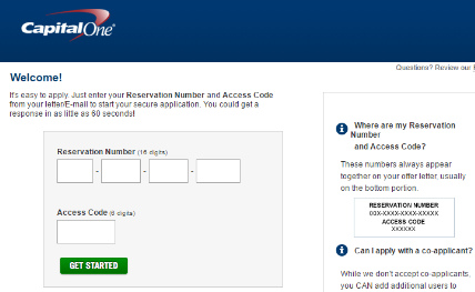 Getmyoffer.CapitalOne.com : Get My Reservation Number and Access Code