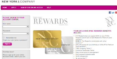 New York and Company (NY&C) Rewards Credit Card Application