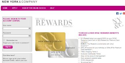 New York and Company (NY&C) Rewards Credit Card Application
