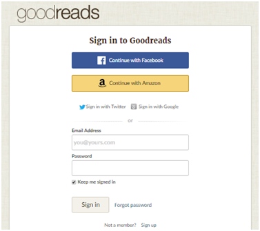 Gooodreads Login: www.goodreads.com Sign In with Google, Amazon & Facebook