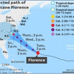 Hurricane Florence (2018) Projected Path, Risk Map and Satellite Image