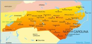 detailed map of north carolina
