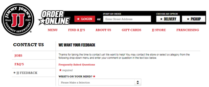 Jimmy John's Want Your Feedback